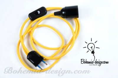 Textile cable YELLOW Z10 with sleeve, switch and plug