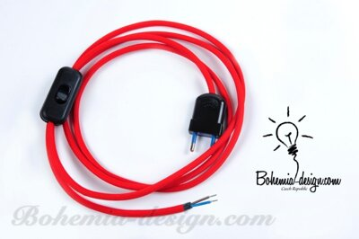 Textile cable to the lamp 1,8m RED STRAWBERRY CJ45, switch+ plug