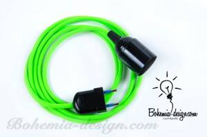 Textile cable 2x0.75mm2 Green Reflective ZE8 with sleeve and plug
